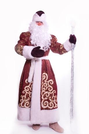 Дед Мороз бордо с золотом