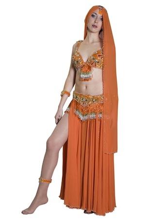 Восточный костюм для танца живота оранж