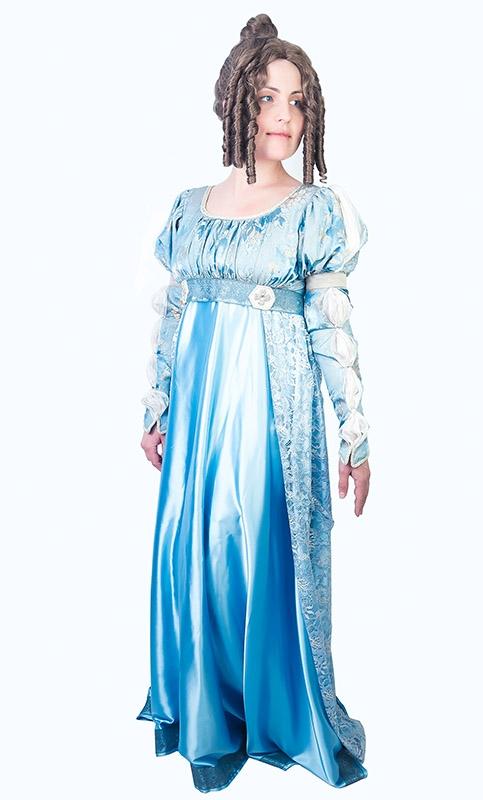 Ампир, платье голубое