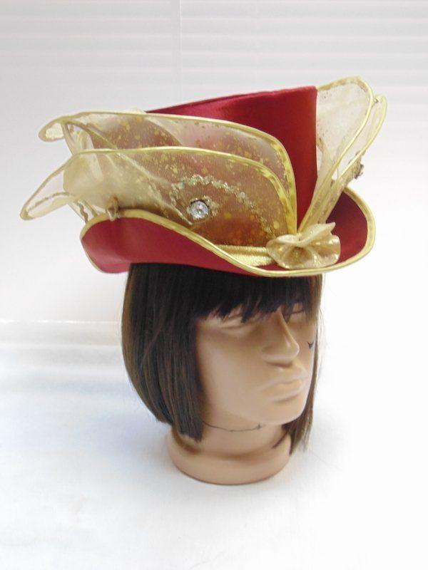Цилиндр женский бордо с золотом