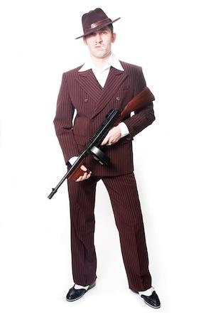 Итальянская мафия, костюм коричневый в полоску