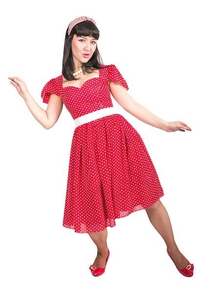 Платье Стиляги красное в горошек