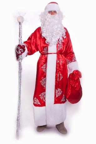 Дед Мороз атласный красный