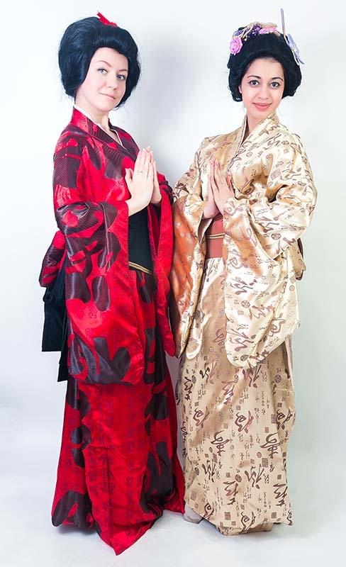 Кимоно золотистое и красное